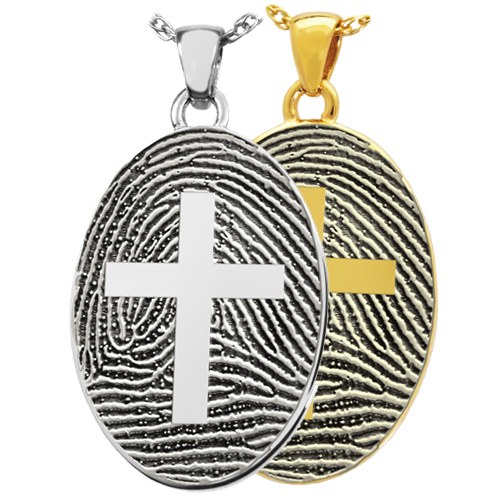 Flat Oval Fingerprint Jewelry with Cross shown in silver and gold