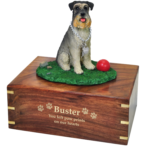 Schnauzer on Grass with Ball dog urn engraved with gold fill