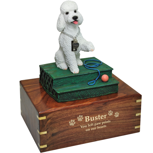 White poodle dog figurine with gold engraved base