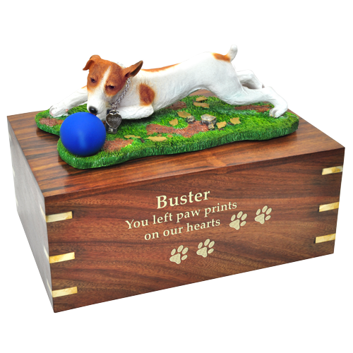Jack Russell Terrier, Brown and White wood urn engraved with gold