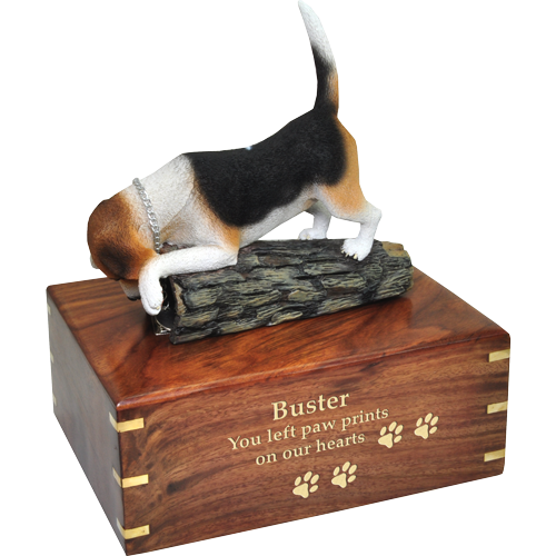 Wholesale Beagle dog figurine urn with gold engraving