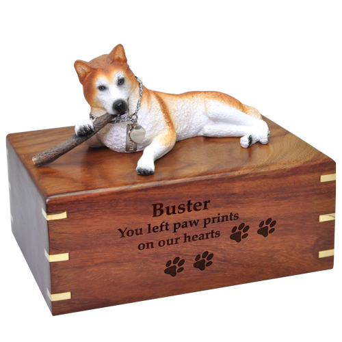 Wholesale Red Husky with stick Blue Eyes urn engraved front