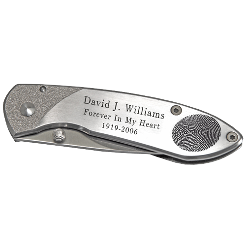 Wholesale Stainless Steel Pocket Knife- Fingerprint shown personalized