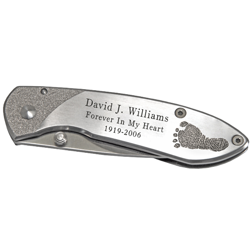 Wholesale Stainless Steel Pocket Knife- Footprint shown personalized