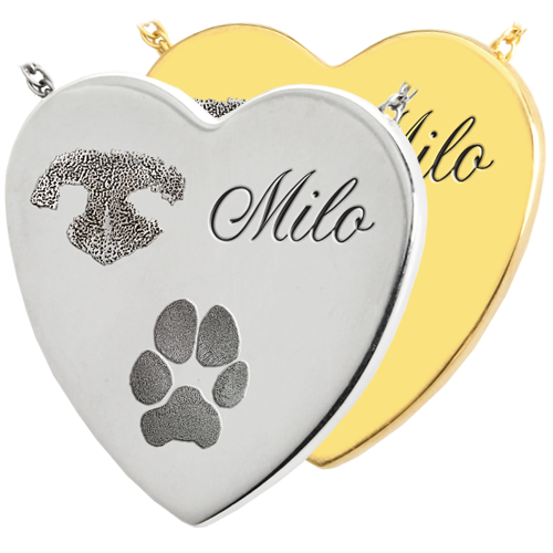 Wholesale Heart Noseprint Pawprint Name Pet Jewelry in silver and gold