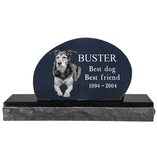 Wholesale Pet Photo Laser Engraved Granite Headstone- Oblong