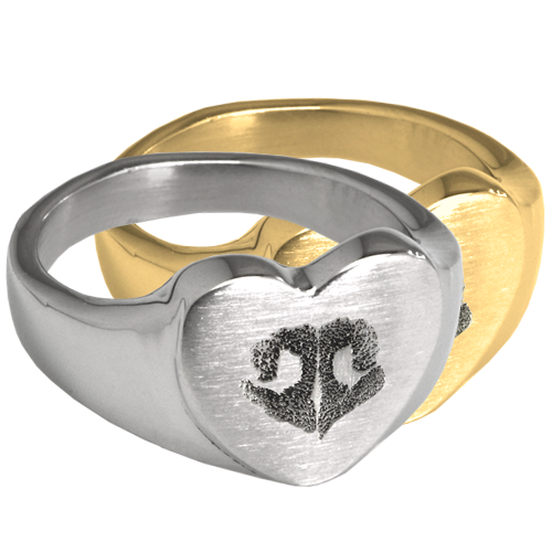 Wholesale Bold Heart Ring with actual Noseprint in silver or gold