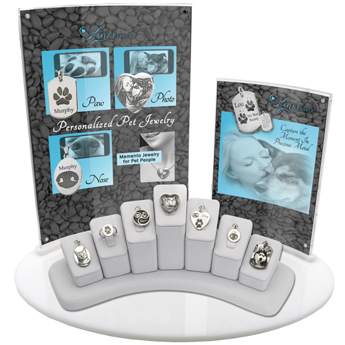 7- Piece Personalized Pet Jewelry Display with vertical signage