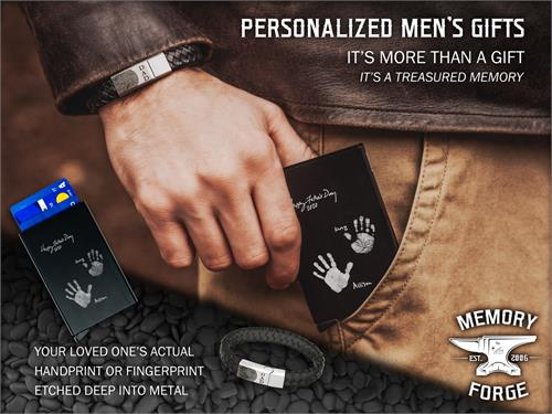 Memory Forge Marketing Image with bracelet and wallet