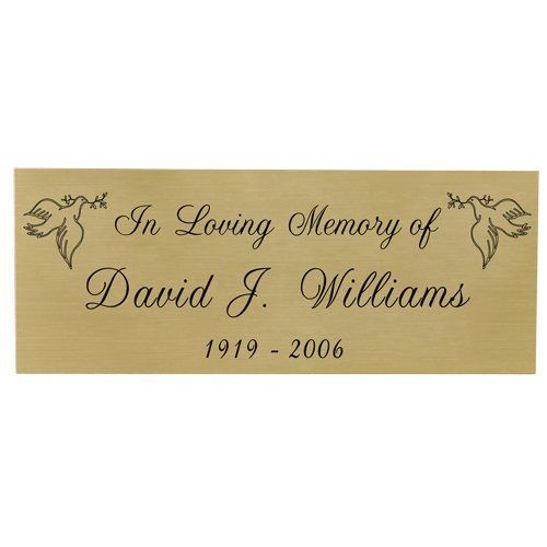 Wholesale Engraved Memorial Plaque- Small Brass Finish Black Fill script