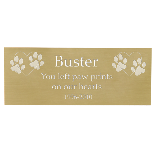 Wholesale Engraved Pet Memorial Plaque- Large Brass Finish shown in block