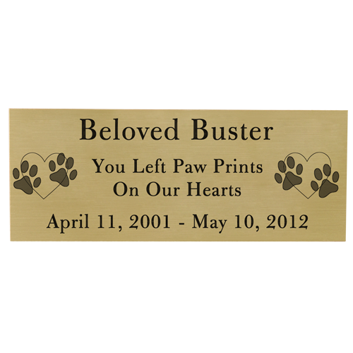 Wholesale Engraved Pet Memorial Plaque- Large Brass Finish Black Fill