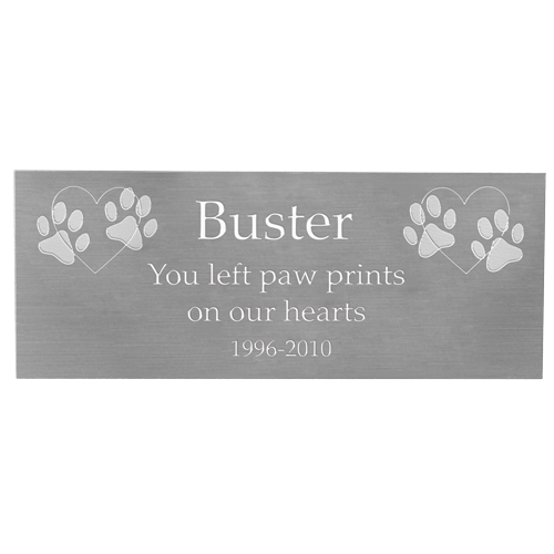 Wholesale Engraved Pet Memorial Plaque- Large Silver Finish in block