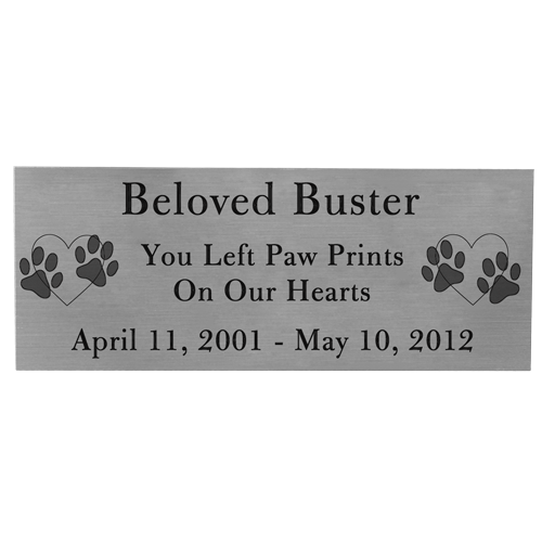 Wholesale Engraved Pet Memorial Plaque- Large Silver Finish Black Fill