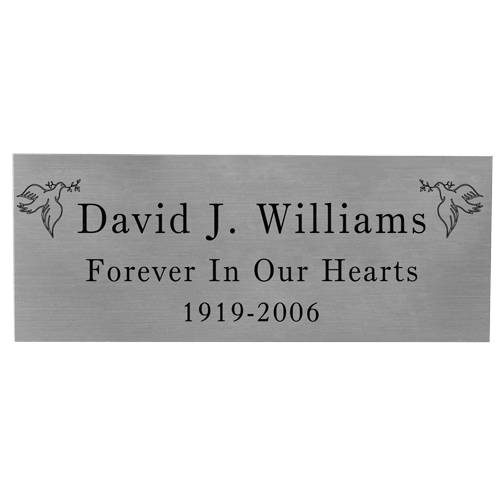 Wholesale Engraved Memorial Plaque- Small Silver Finish Black Fill