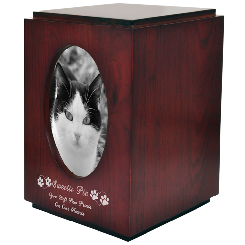 Wholesale Pet Urns: Cherry Finish  Cat Urn Oval Photo Frame shown engraved
