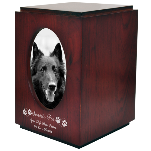 Wholesale Pet Urns: Cherry Finish Dog Urn Oval Photo Frame shown engraved