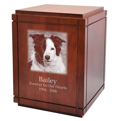 Wholesale Large Dog Urns: Cherry Finish Grooved Vertical Wood Urn
