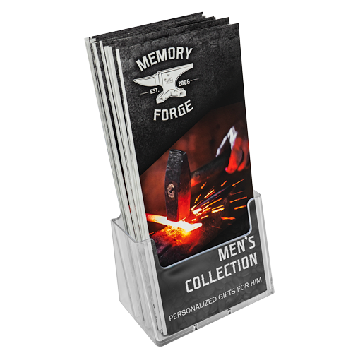 memory forge trifolds in acrylic stand