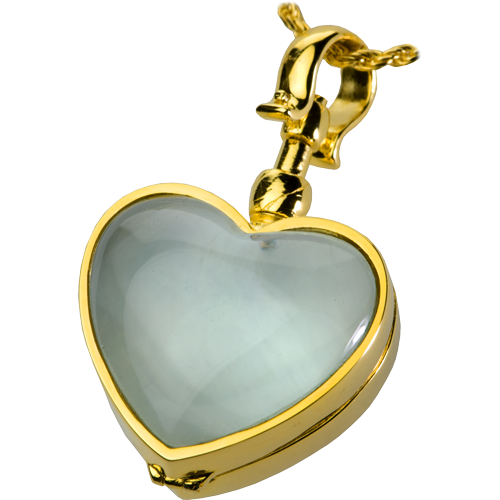victorian glass heart locket gold pet cremation jewelry pendant