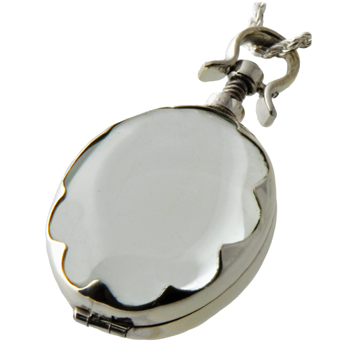 Wholesale Pet Cremation Jewelry: Victorian Glass Oval Scalloped Locket