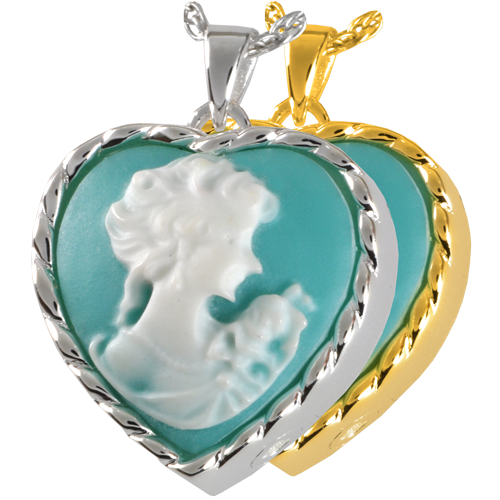 Heart Cameo Marine Green jewelry shown in silver and gold metal options