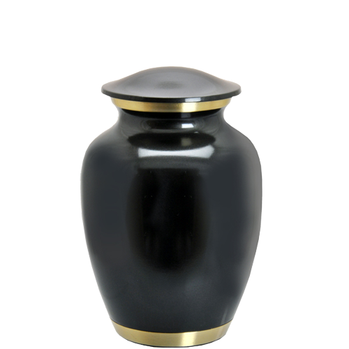 Wholesale Cremation Urns: Dark Pewter Two Gold Bands- 6