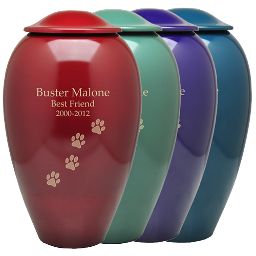 Wholesale Pet Cremation Urns: Premium Brass shown in available colors