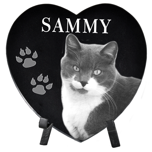 Wholesale Pet Photo Engraved Black Marble Heart- Large