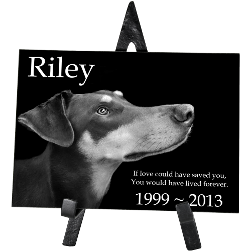 Wholesale Pet Photo Engraved Black Marble Rectangle