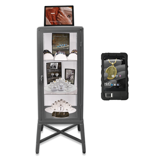 cremation jewelry tower with digital marketing frame