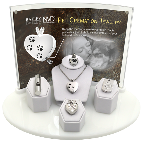 Wholesale NMD 5- Piece Pet Cremation Jewelry Display
