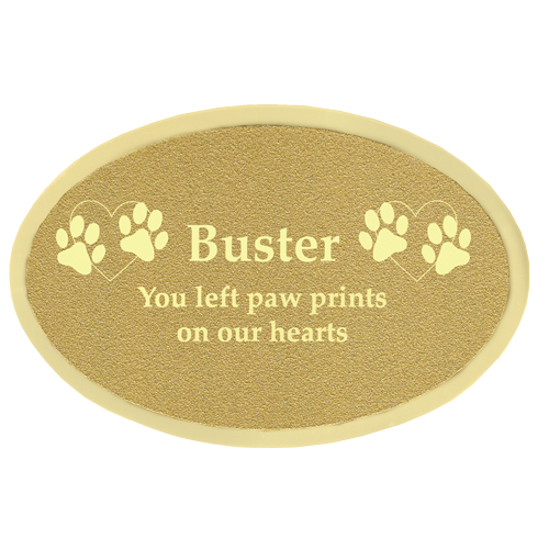 Wholesale Engraved Pet Memorial Plaque- Small Brass Oval
