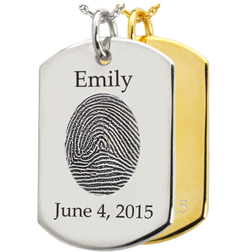Wholesale Fingerprint Dog Tag Pendant shown in silver and gold
