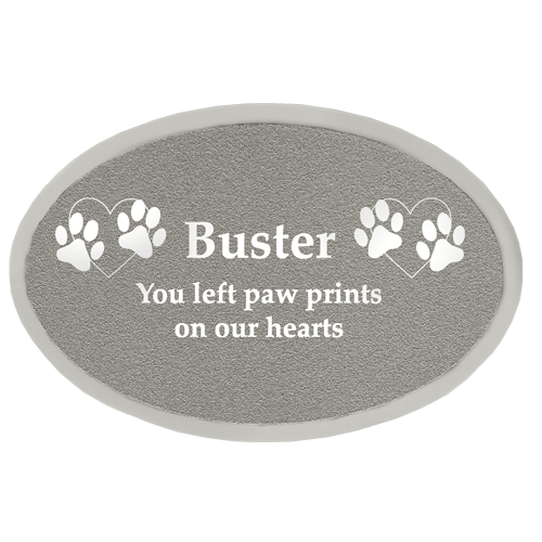 Wholesale Engraved Pet Memorial Plaque- Small Silver Oval
