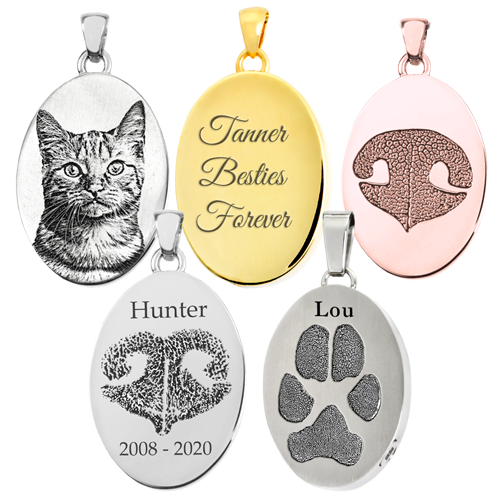 Personalized Pet Oval Jewelry samples
