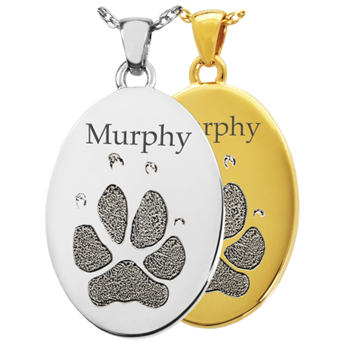 Wholesale B&B Flat Oval Actual Pawprint Jewelry shown in silver and gold