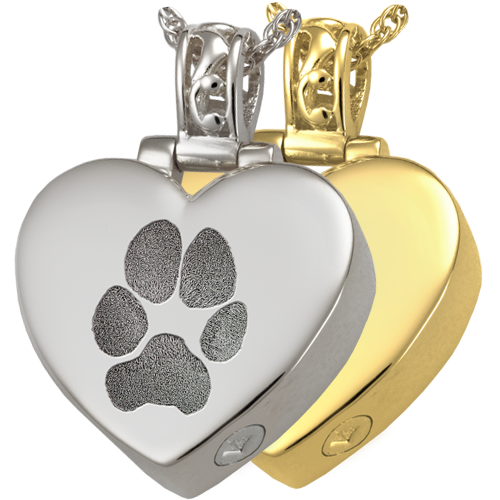 Heart Actual Pawprint Wholesale Jewelry shown in silver and gold
