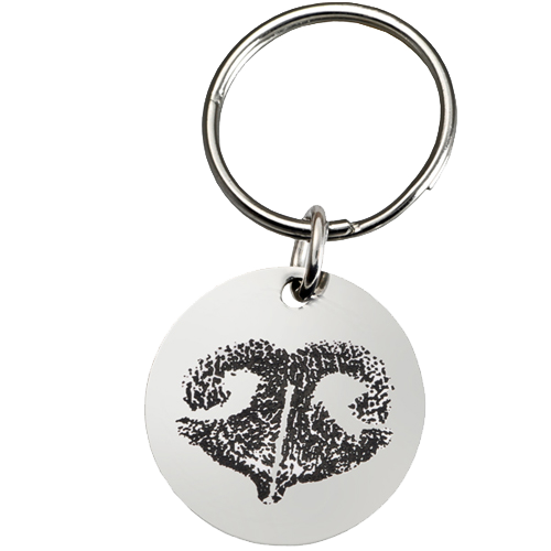 Wholesale Pet Print Key Ring: Stainless Steel Round Tag Noseprint