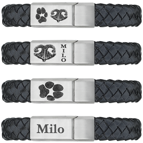 Pet samples of Leather and Stainless Steel Bracelet