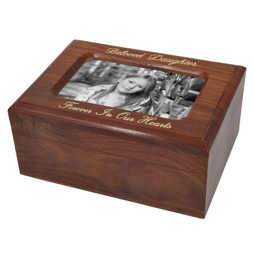 Wholesale Memory Chest Wooden Box Urn with Photo Window with gold fill