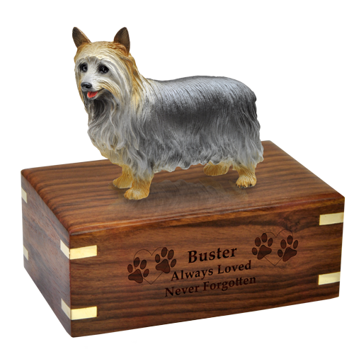 Wholesale Silky Terrier figurine with engraved wood urn