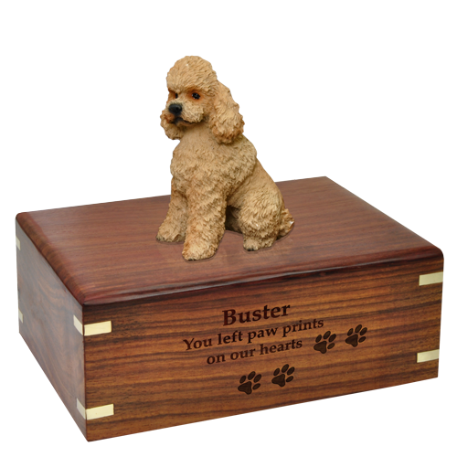 Wholesale Apricot Poodle dog figurine urn with engraved front