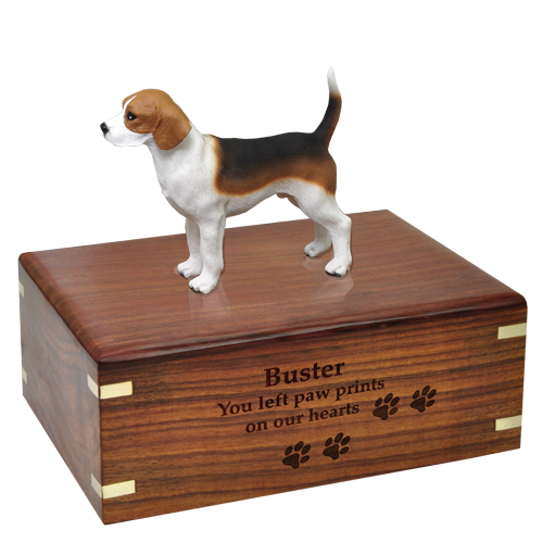 Beagle Figurine Wood Urn engraved into wood