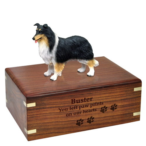 tricolor collie dog figurine with engraved urn base