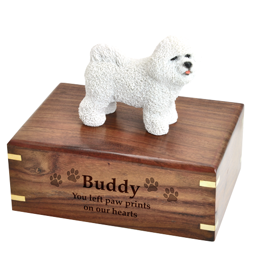 Bichon Frise figurine medium wood urn base engraved