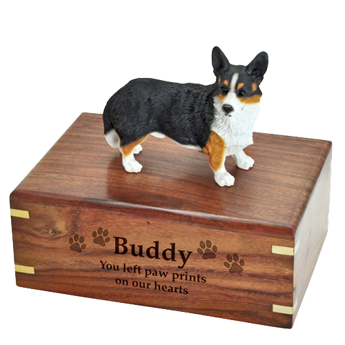 Welsh Corgi Cardigan figurine on engraved medium wood urn
