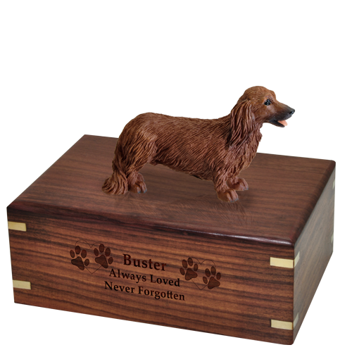 Wholesale Dachshund Red, Longhair Dog Figurine Wood Urn