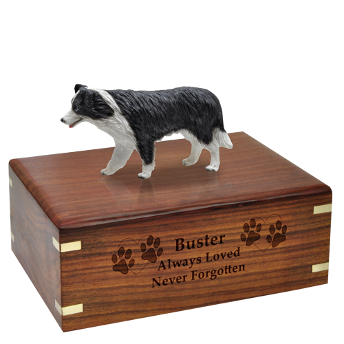 Border Collie dog figurine wood urn engraved short message