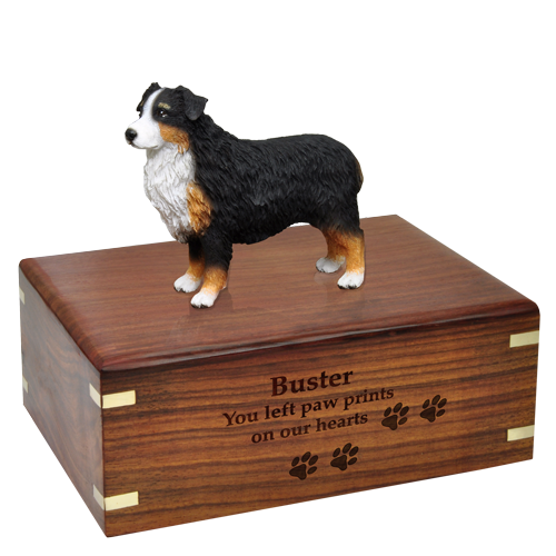 Wholesale Australian Shepherd Tricolor Figurine Wood Urn engraved